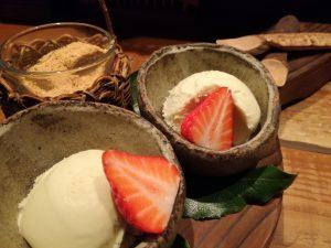 畑舎コース デザート バニラアイス&わらび餅
