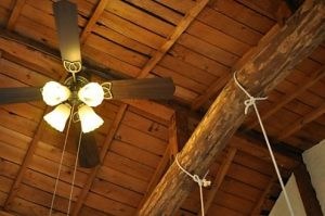 天井のシーリングファン付き照明 (Room201)