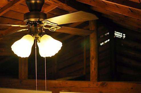 天井のシーリングファン付き照明 (Room202)