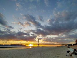 明石海峡と夕陽